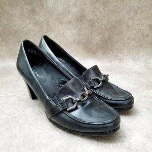 Massini Womens 3143627 Sz 8 M Black Faux Leather